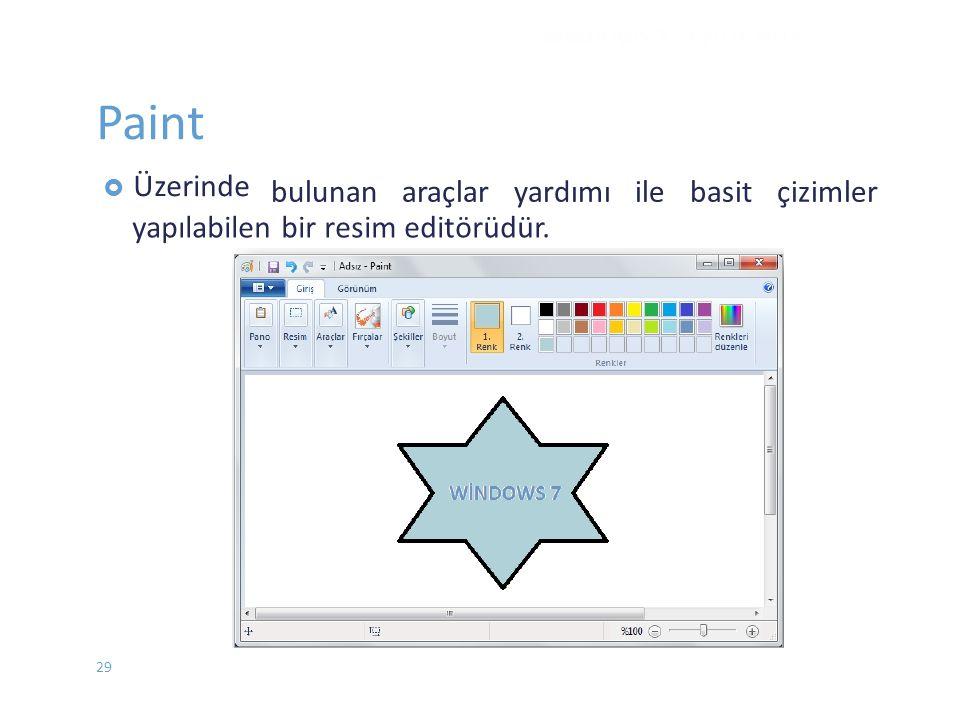Paint bulunan araçlar yardımı ile basit çizimler