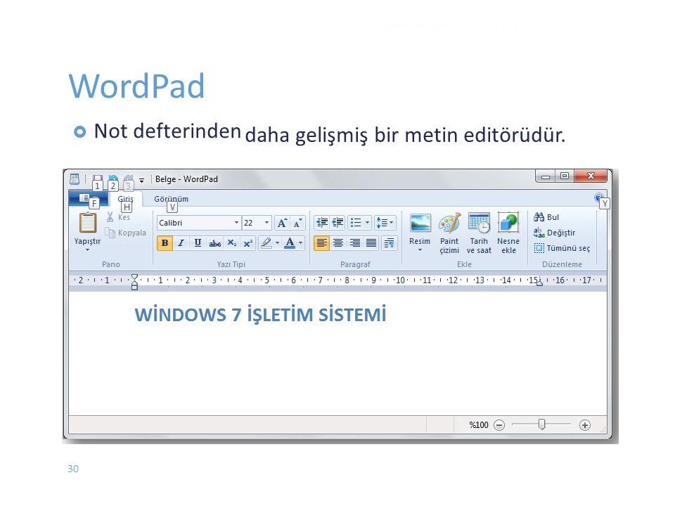 WordPad daha gelişmiş bir metin editörüdür. WINDOWS 7 - EYLÜL 2012