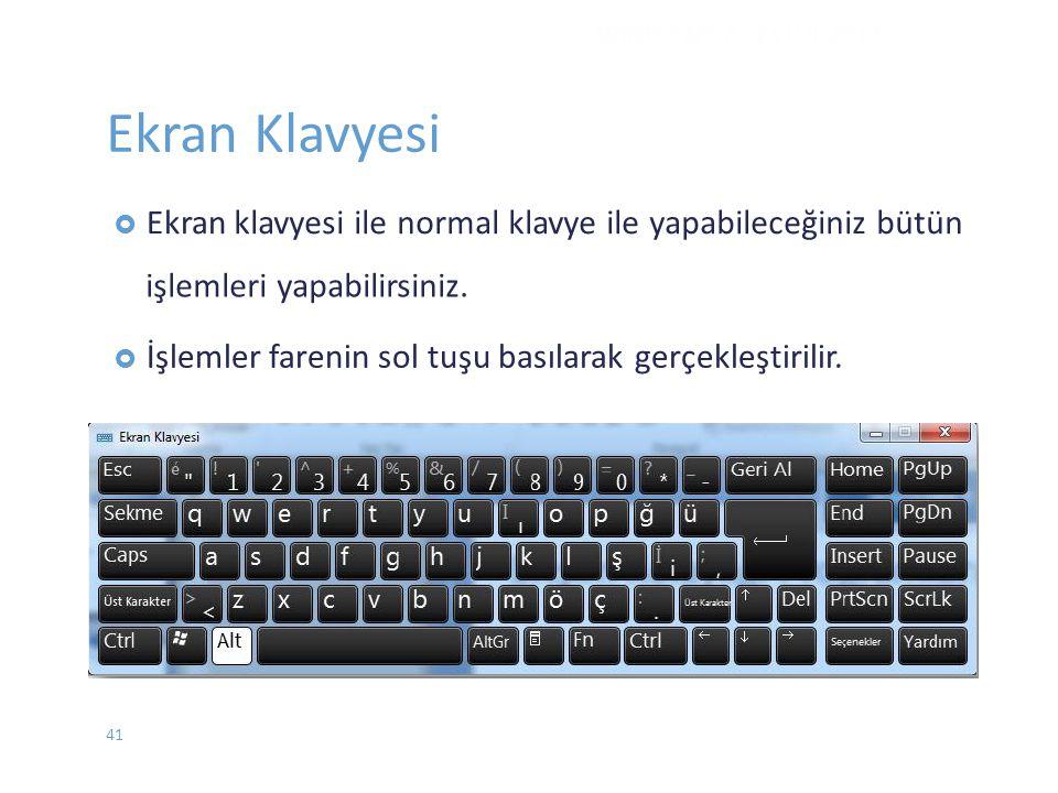 Ekran Klavyesi klavyesi ile normal klavye ile yapabileceğiniz bütün