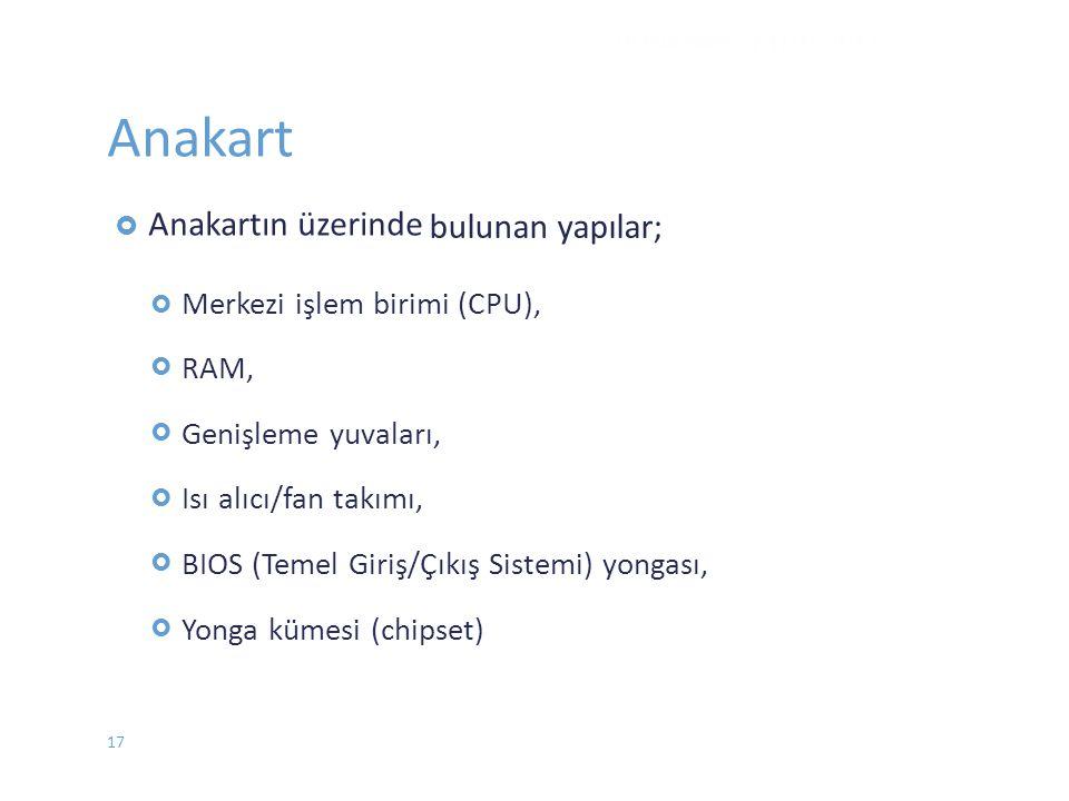 Anakart bulunan yapılar; Merkezi işlem birimi (CPU), RAM,