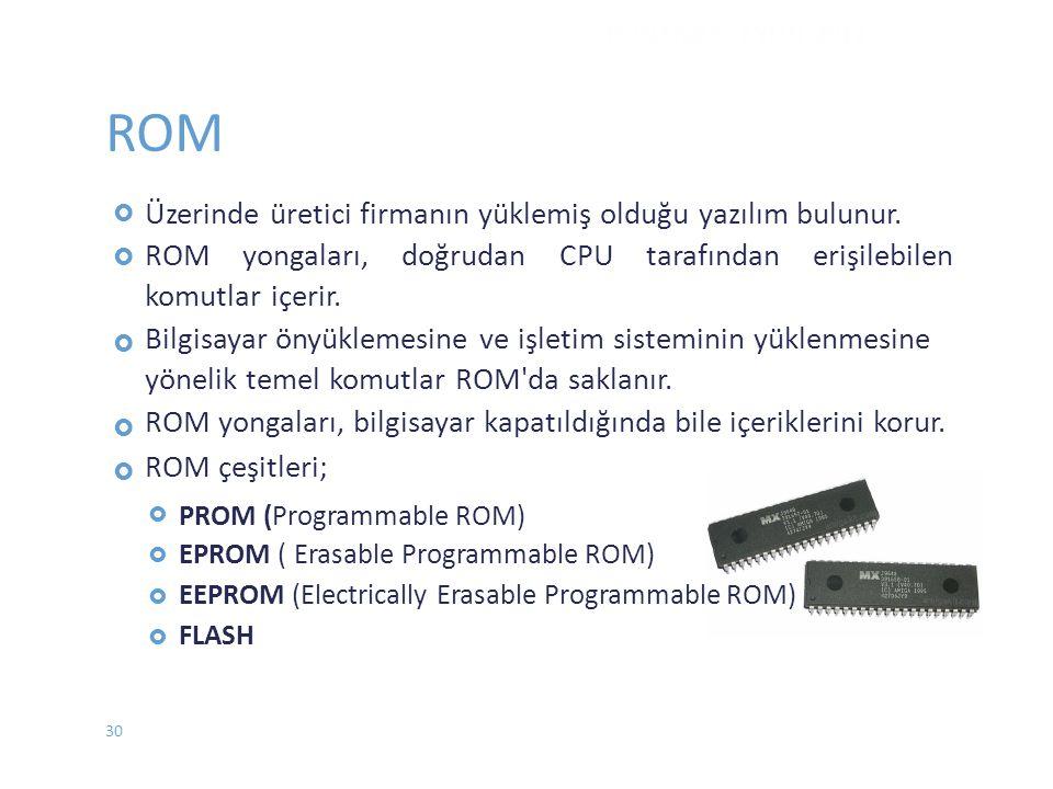 ROM Üzerinde üretici firmanın yüklemiş olduğu yazılım bulunur.