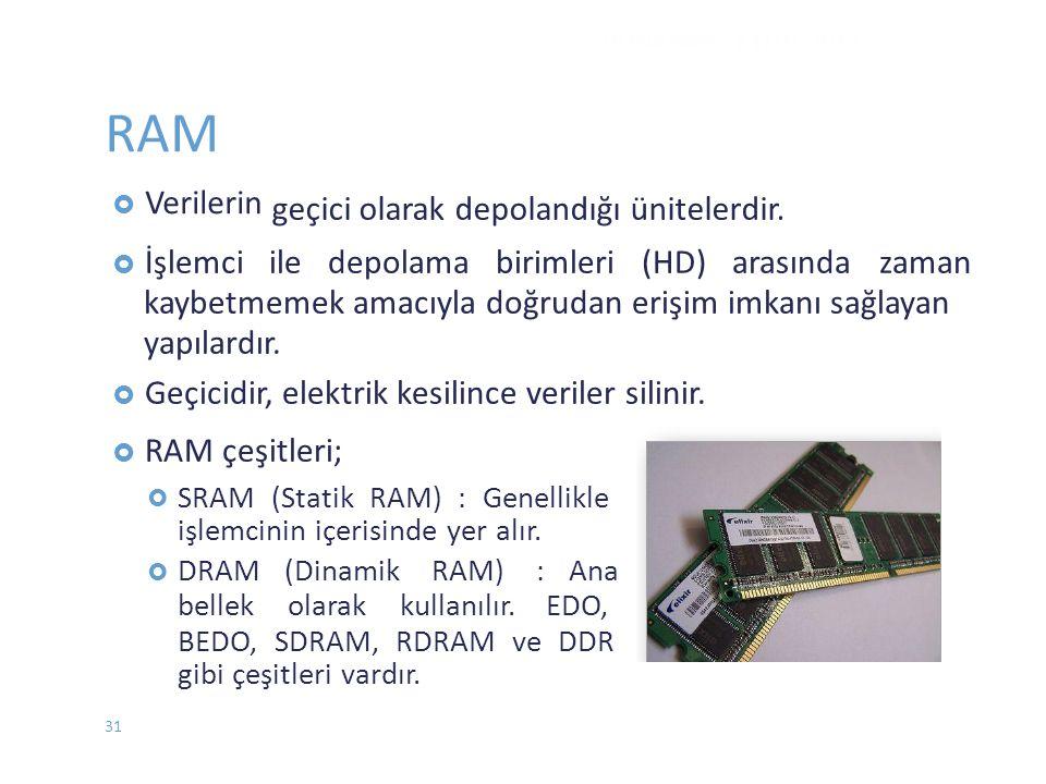 RAM geçici olarak depolandığı ünitelerdir.