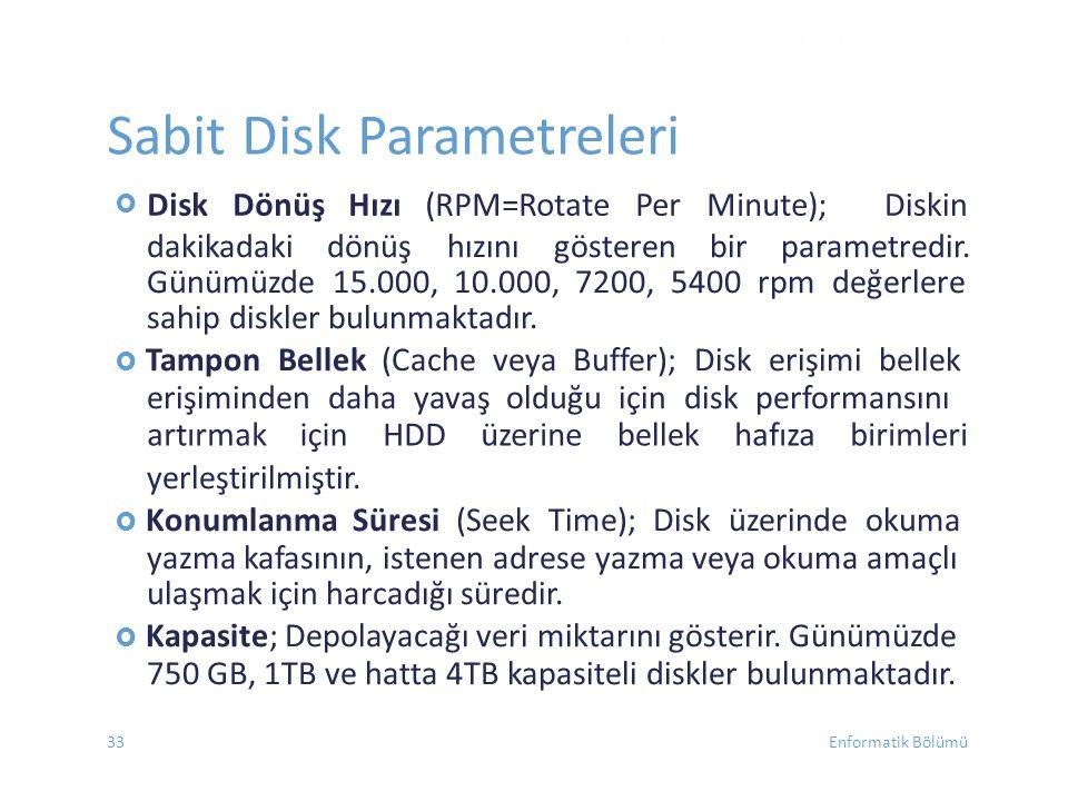 Sabit Disk Parametreleri