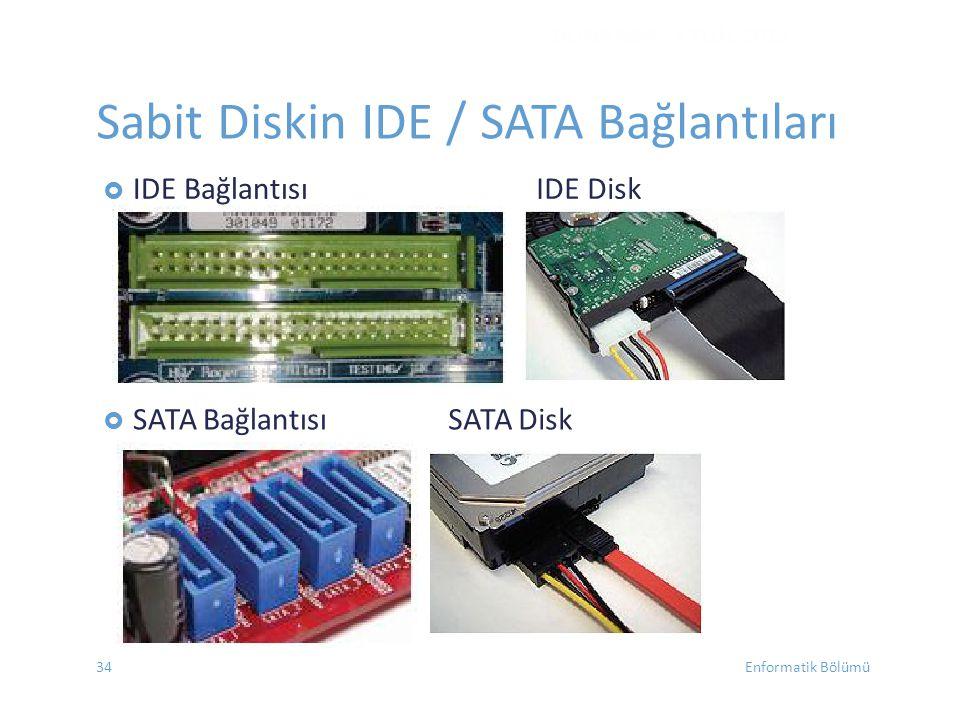 Sabit Diskin IDE / SATA Bağlantıları
