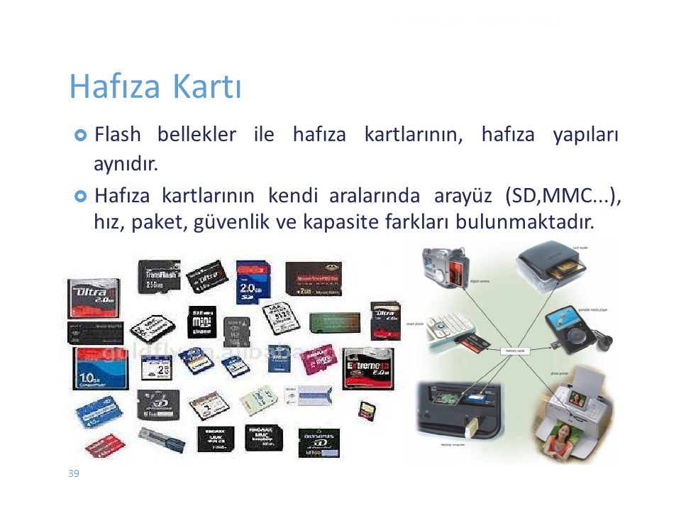 Hafıza Kartı bellekler ile hafıza kartlarının, hafıza yapıları