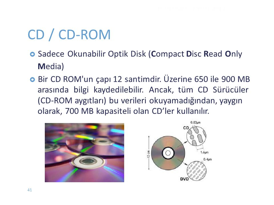 CD / CD-ROM Okunabilir Optik Disk (Compact Disc Read Only