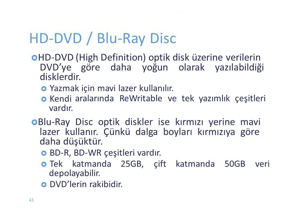 HD-DVD / Blu-Ray Disc aralarında ReWritable ve tek yazımlık çeşitleri