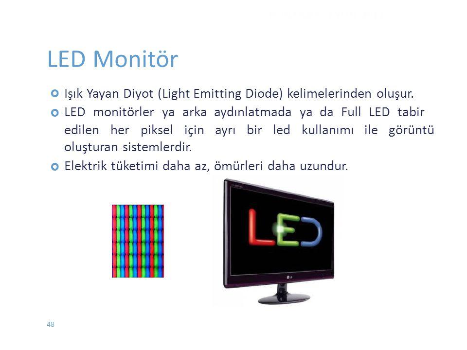 DONANIM - EYLÜL 2012 LED Monitör.  Işık Yayan Diyot (Light Emitting Diode) kelimelerinden oluşur.