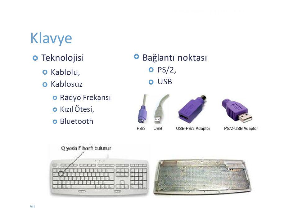 Klavye Bağlantı noktası PS/2, Kablolu, USB Kablosuz Ötesi,