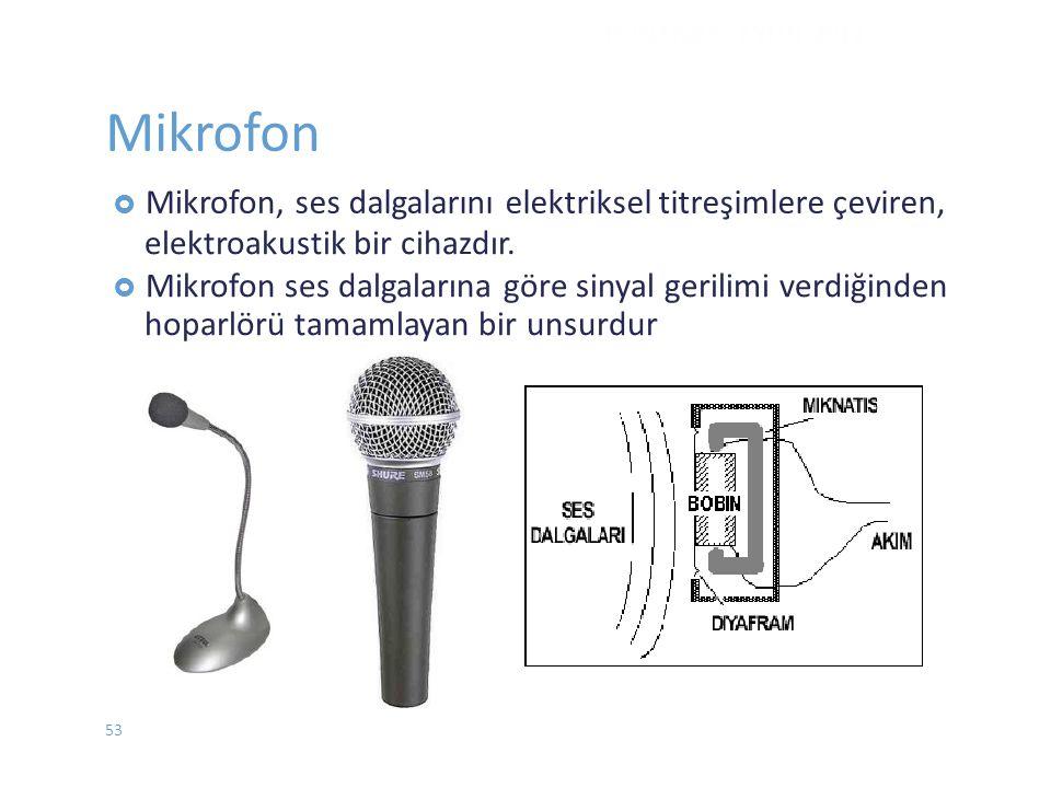 Mikrofon ses dalgalarını elektriksel titreşimlere çeviren,