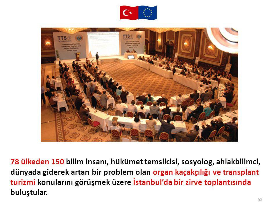 78 ülkeden 150 bilim insanı, hükümet temsilcisi, sosyolog, ahlakbilimci, dünyada giderek artan bir problem olan organ kaçakçılığı ve transplant turizmi konularını görüşmek üzere İstanbul'da bir zirve toplantısında buluştular.
