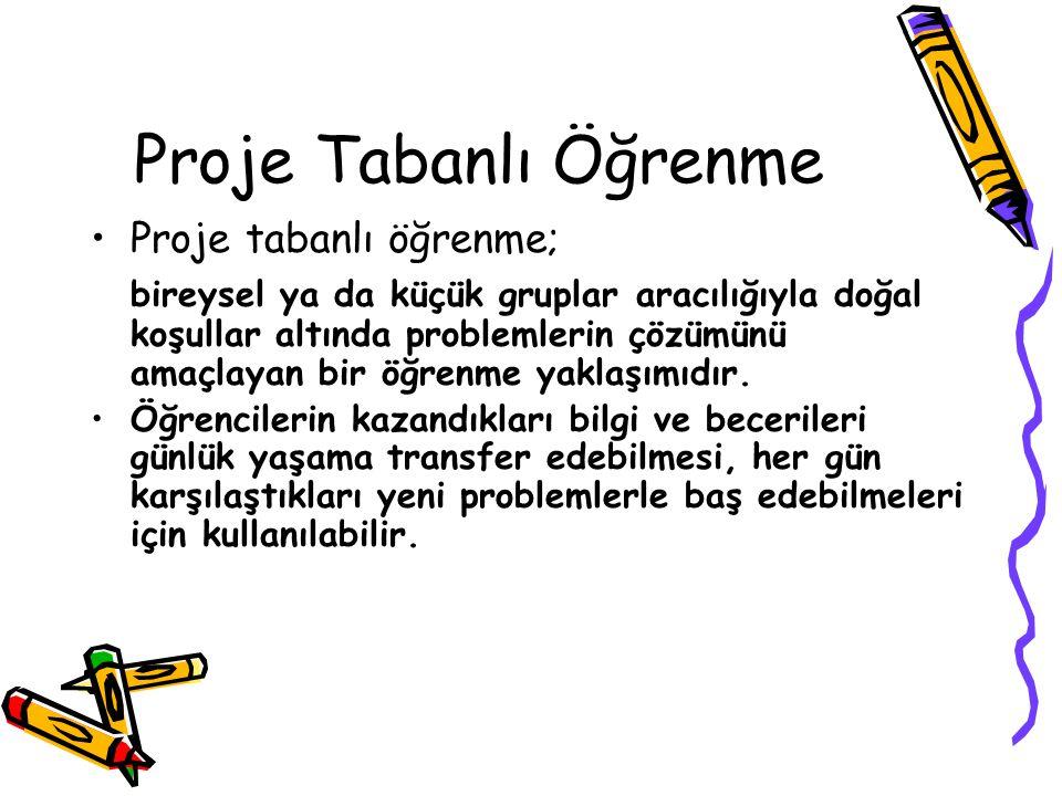 Proje Tabanlı Öğrenme Proje tabanlı öğrenme;