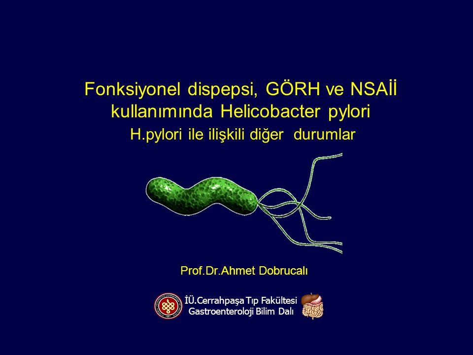 Fonksiyonel dispepsi, GÖRH ve NSAİİ kullanımında Helicobacter pylori H