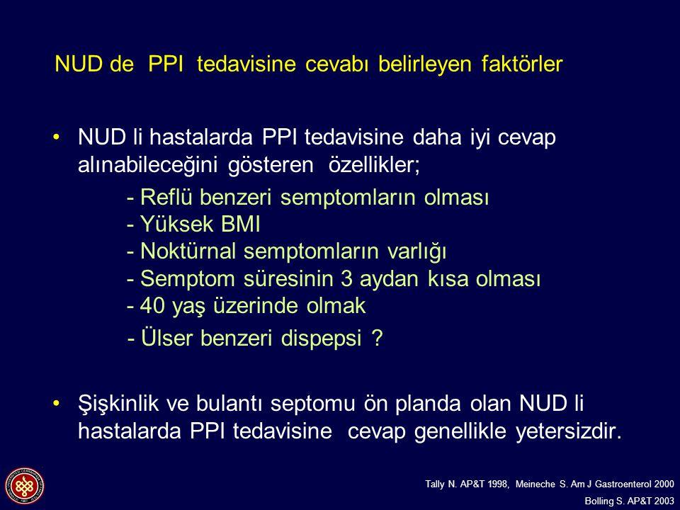NUD de PPI tedavisine cevabı belirleyen faktörler