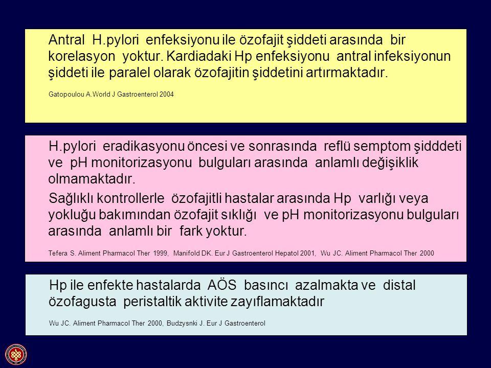 Antral H.pylori enfeksiyonu ile özofajit şiddeti arasında bir korelasyon yoktur. Kardiadaki Hp enfeksiyonu antral infeksiyonun şiddeti ile paralel olarak özofajitin şiddetini artırmaktadır.