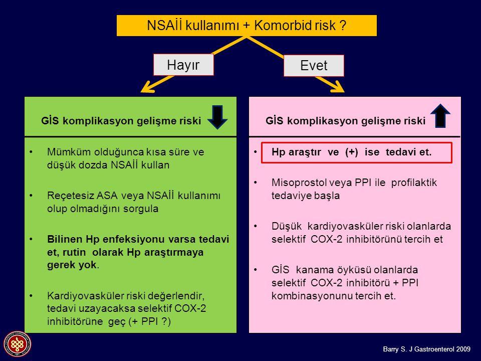 NSAİİ kullanımı + Komorbid risk