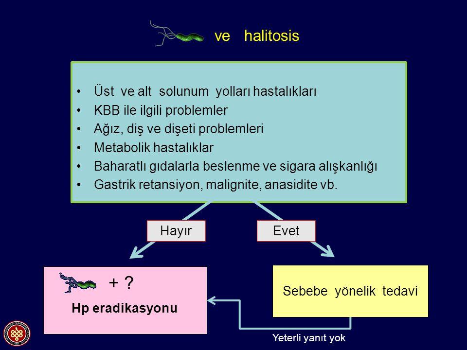 + ve halitosis Üst ve alt solunum yolları hastalıkları