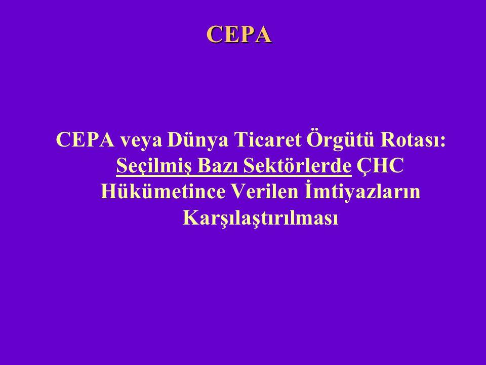 CEPA CEPA veya Dünya Ticaret Örgütü Rotası: Seçilmiş Bazı Sektörlerde ÇHC Hükümetince Verilen İmtiyazların Karşılaştırılması.