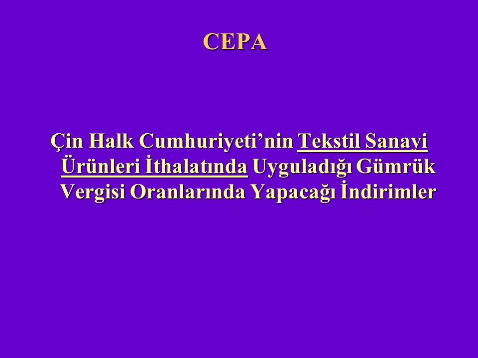 CEPA Çin Halk Cumhuriyeti'nin Tekstil Sanayi Ürünleri İthalatında Uyguladığı Gümrük Vergisi Oranlarında Yapacağı İndirimler.