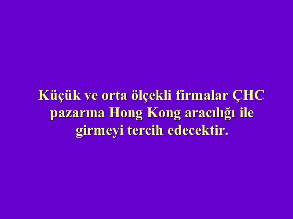Küçük ve orta ölçekli firmalar ÇHC pazarına Hong Kong aracılığı ile girmeyi tercih edecektir.