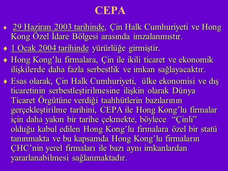 CEPA 1 Ocak 2004 tarihinde yürürlüğe girmiştir.