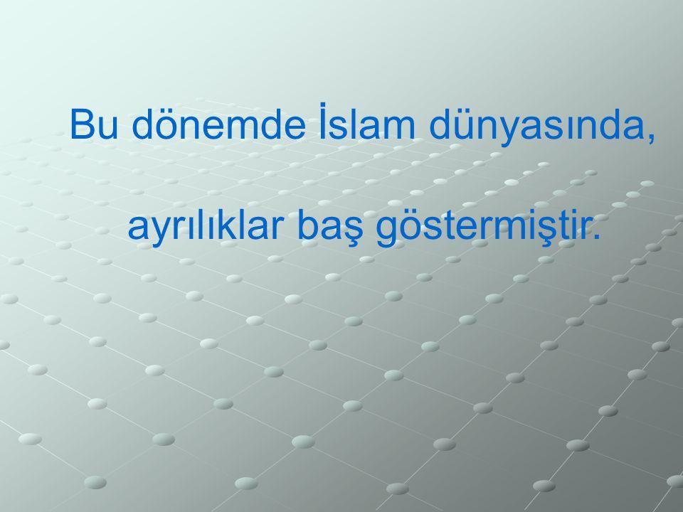 Bu dönemde İslam dünyasında, ayrılıklar baş göstermiştir.
