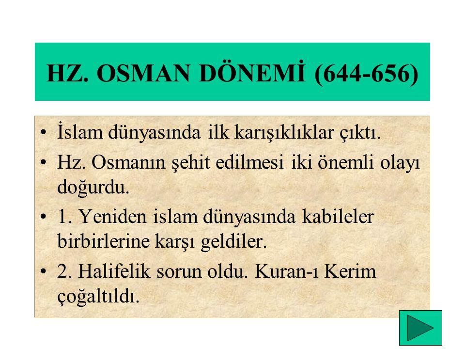 HZ. OSMAN DÖNEMİ (644-656) İslam dünyasında ilk karışıklıklar çıktı.