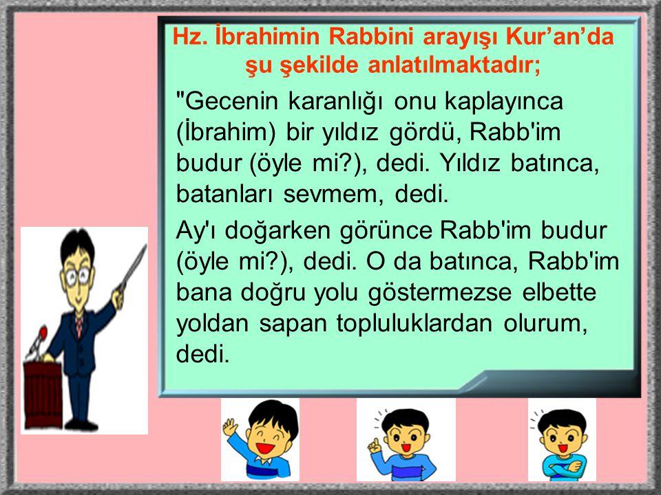 Hz. İbrahimin Rabbini arayışı Kur'an'da şu şekilde anlatılmaktadır;