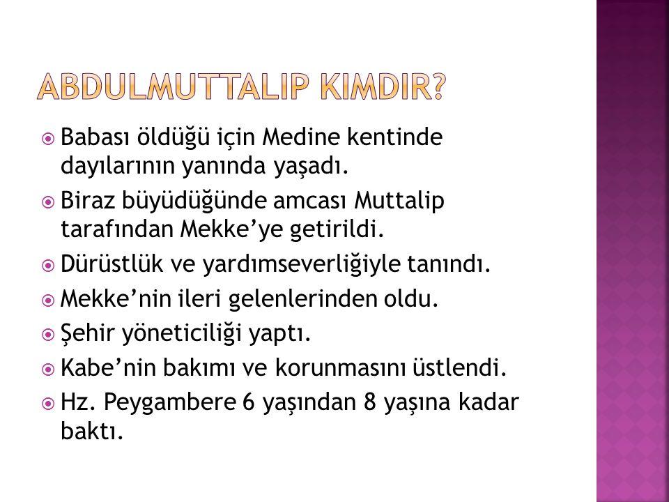 Abdulmuttalip kimdir Babası öldüğü için Medine kentinde dayılarının yanında yaşadı.