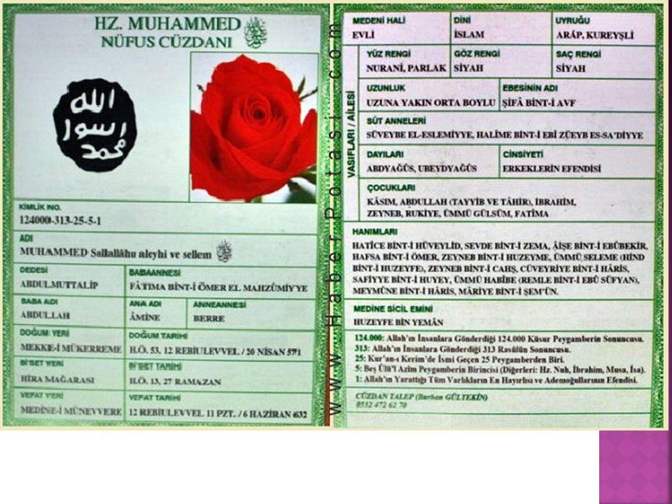 Hz. Muhammed (s.a.v.)'in nüfus cüzdanı yapılsaydı nasıl olurdu