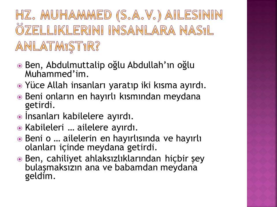 Hz. Muhammed (s.a.v.) ailesinin özelliklerini insanlara nasıl anlatmıştır
