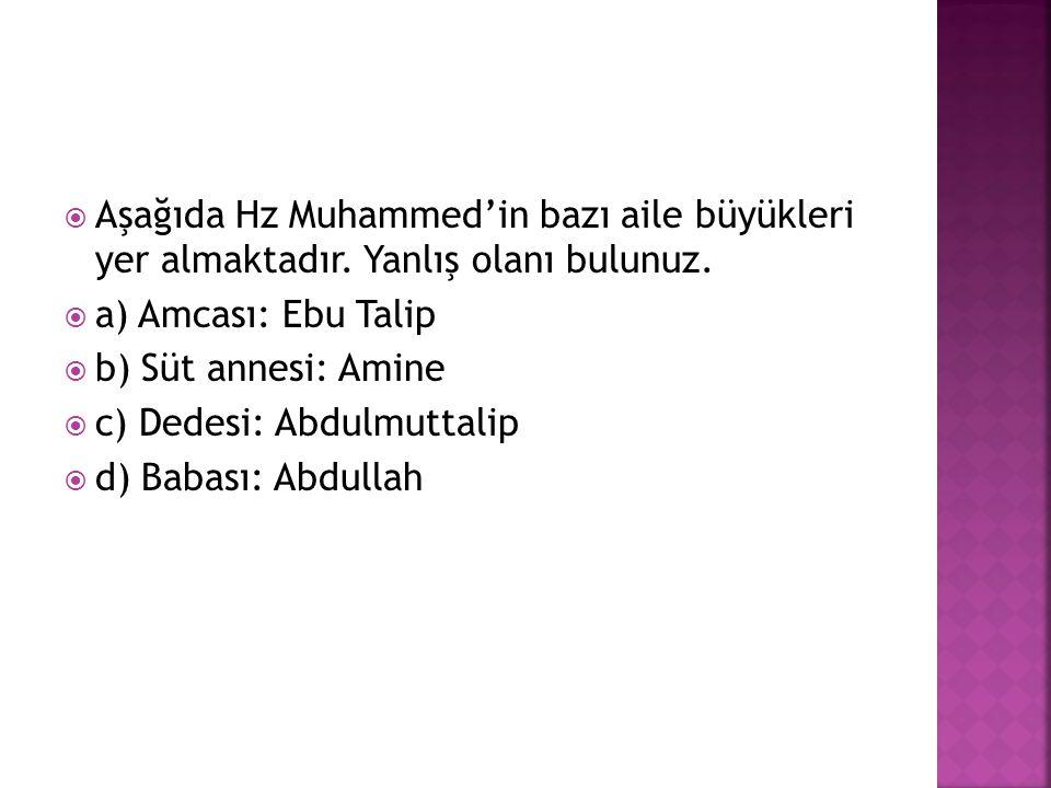 Aşağıda Hz Muhammed'in bazı aile büyükleri yer almaktadır
