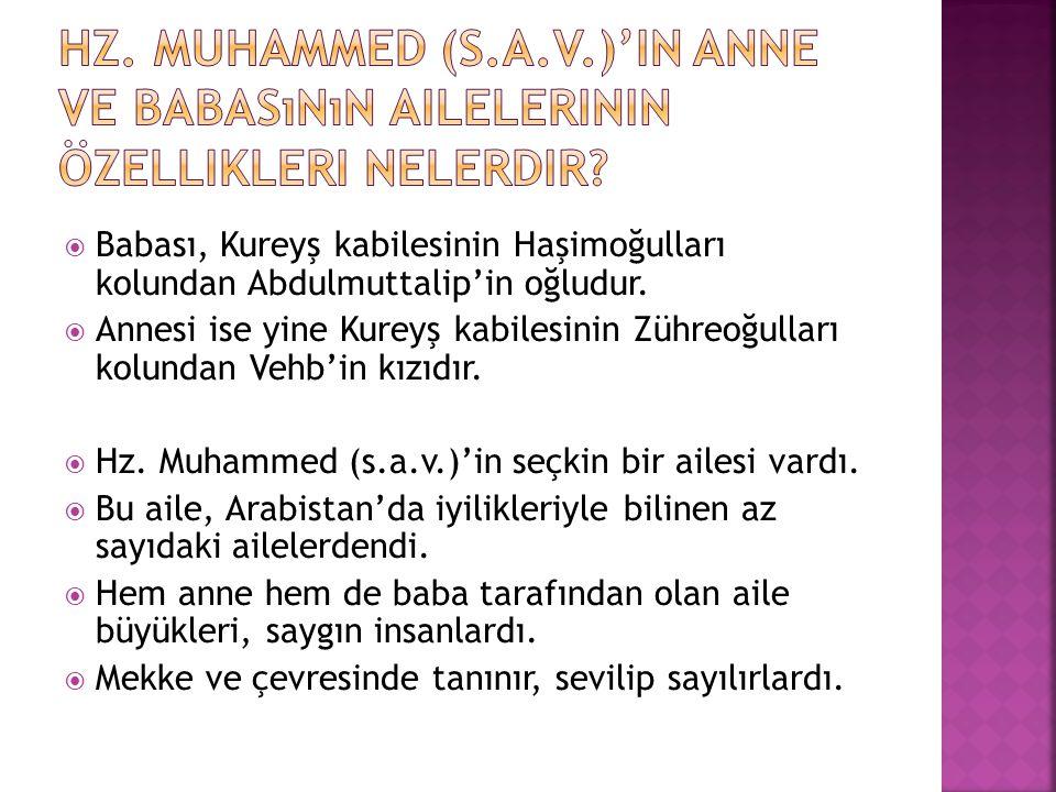 Hz. Muhammed (s.a.v.)'in anne ve babasının ailelerinin özellikleri nelerdir