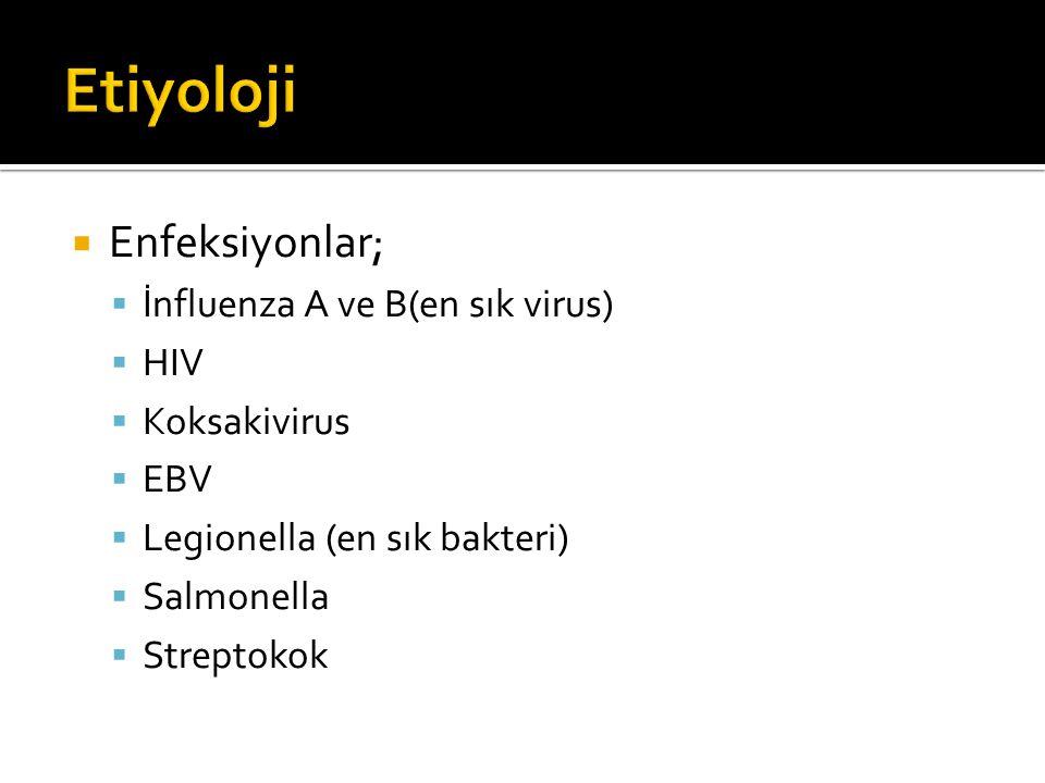 Etiyoloji Enfeksiyonlar; İnfluenza A ve B(en sık virus) HIV