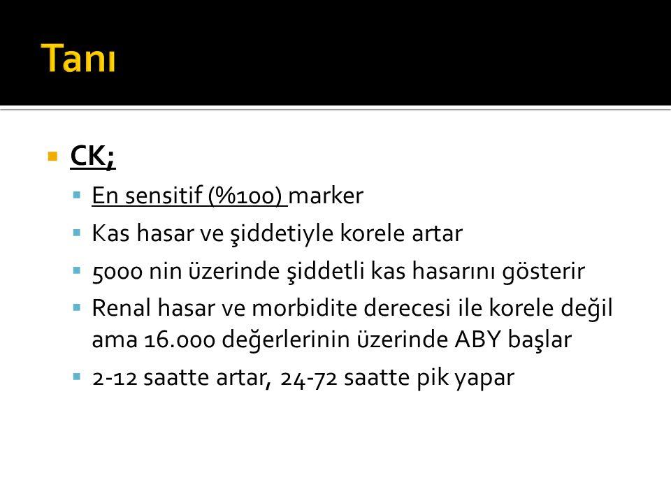 Tanı CK; En sensitif (%100) marker