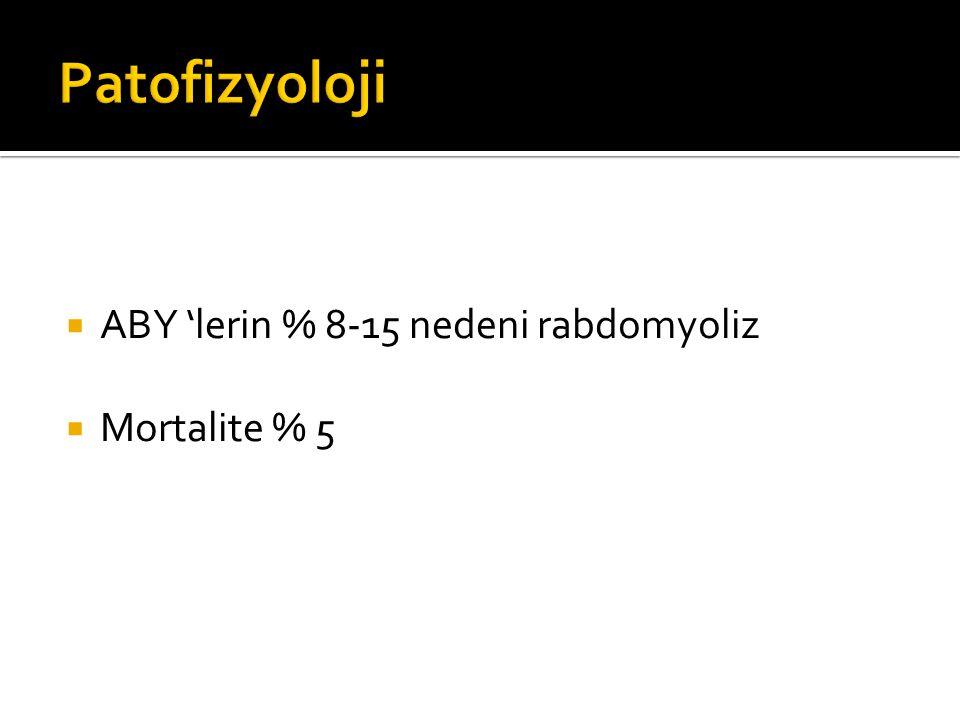 Patofizyoloji ABY 'lerin % 8-15 nedeni rabdomyoliz Mortalite % 5