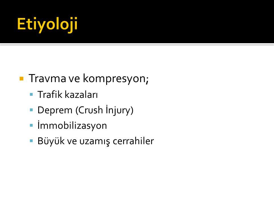 Etiyoloji Travma ve kompresyon; Trafik kazaları Deprem (Crush İnjury)