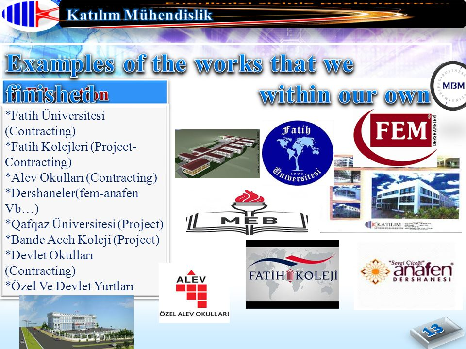Examples of the works that we finished within our own country