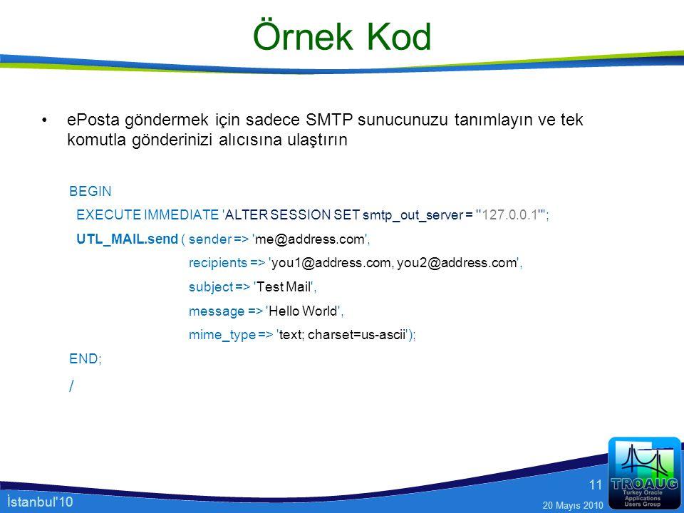 Örnek Kod ePosta göndermek için sadece SMTP sunucunuzu tanımlayın ve tek komutla gönderinizi alıcısına ulaştırın.