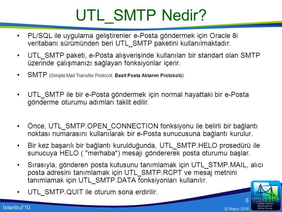 UTL_SMTP Nedir PL/SQL ile uygulama geliştirenler e-Posta göndermek için Oracle 8i veritabanı sürümünden beri UTL_SMTP paketini kullanılmaktadır.