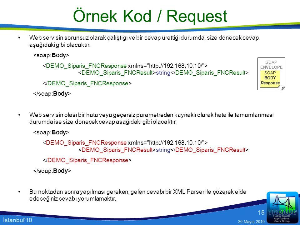 Örnek Kod / Request Web servisin sorunsuz olarak çalıştığı ve bir cevap ürettiği durumda, size dönecek cevap aşağıdaki gibi olacaktır.