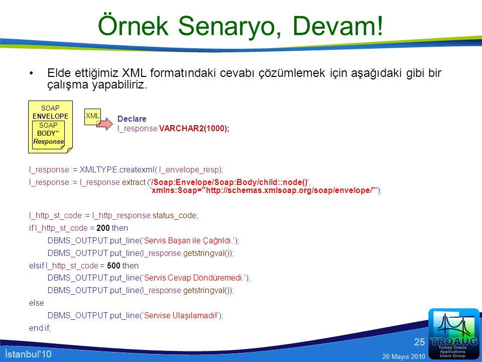Örnek Senaryo, Devam! Elde ettiğimiz XML formatındaki cevabı çözümlemek için aşağıdaki gibi bir çalışma yapabiliriz.