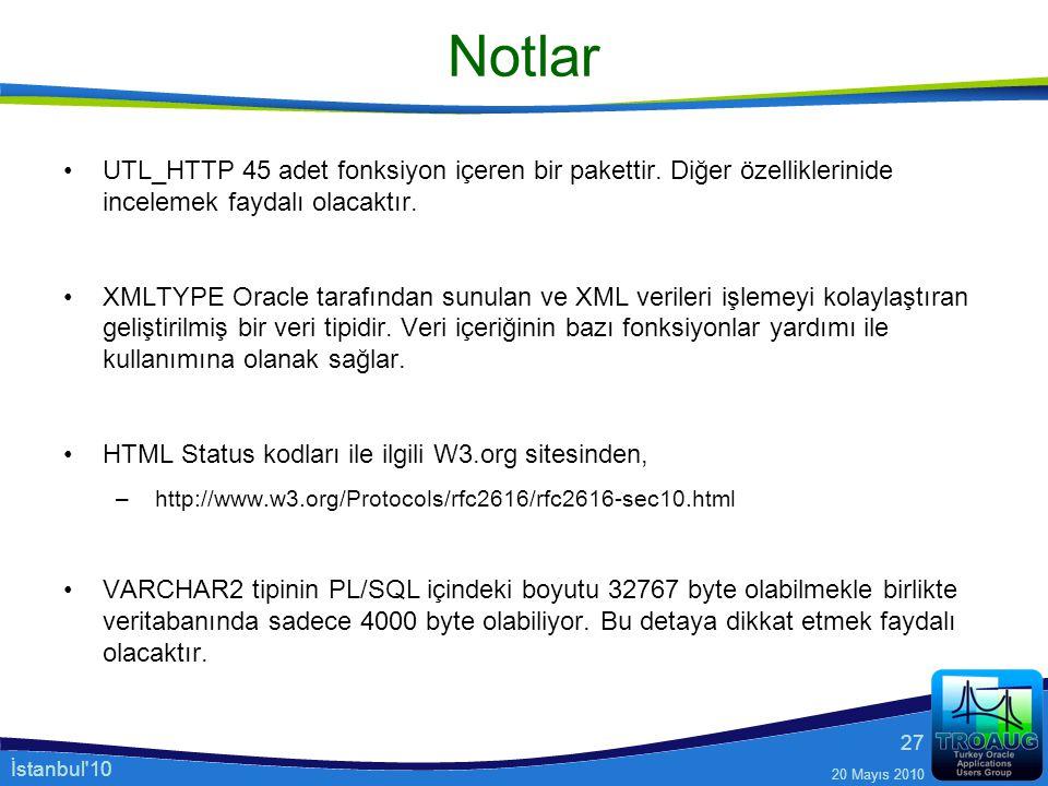 Notlar UTL_HTTP 45 adet fonksiyon içeren bir pakettir. Diğer özelliklerinide incelemek faydalı olacaktır.