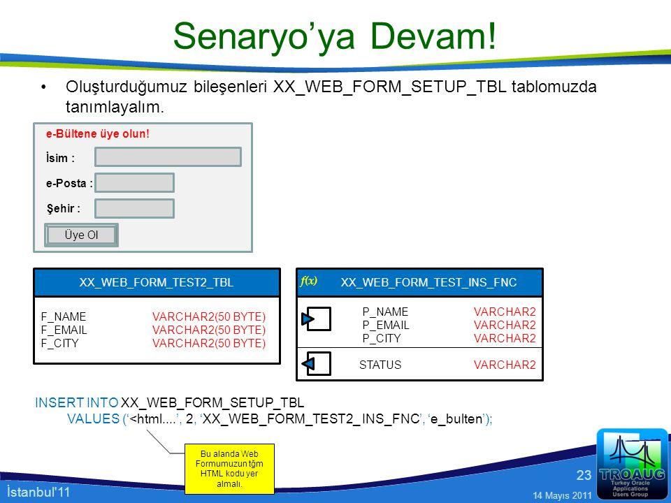 Senaryo'ya Devam! Oluşturduğumuz bileşenleri XX_WEB_FORM_SETUP_TBL tablomuzda tanımlayalım. e-Bültene üye olun!