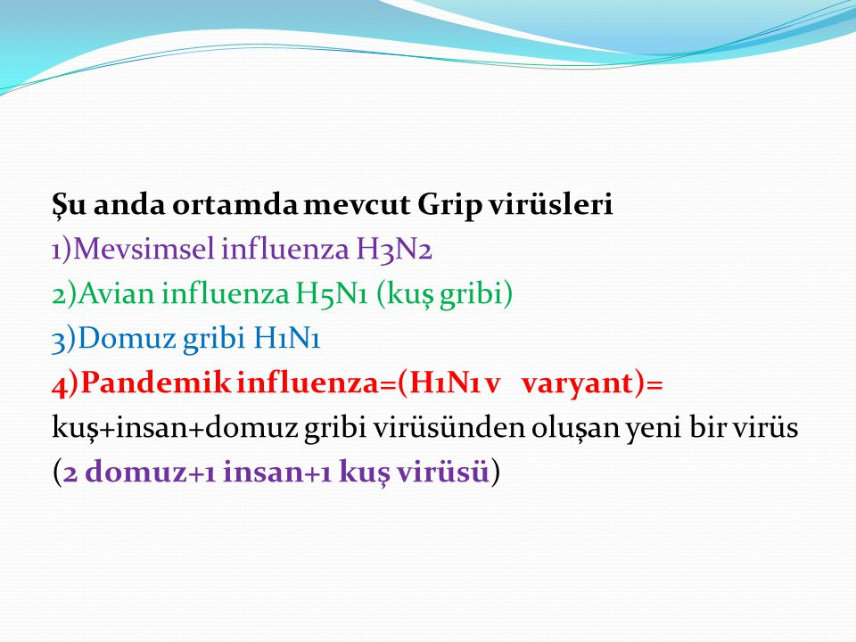 Şu anda ortamda mevcut Grip virüsleri 1)Mevsimsel influenza H3N2 2)Avian influenza H5N1 (kuş gribi) 3)Domuz gribi H1N1 4)Pandemik influenza=(H1N1 v varyant)= kuş+insan+domuz gribi virüsünden oluşan yeni bir virüs (2 domuz+1 insan+1 kuş virüsü)