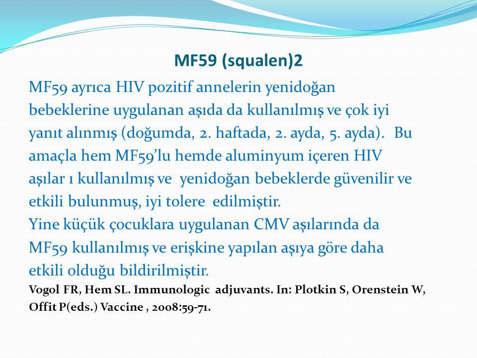 MF59 (squalen)2 MF59 ayrıca HIV pozitif annelerin yenidoğan