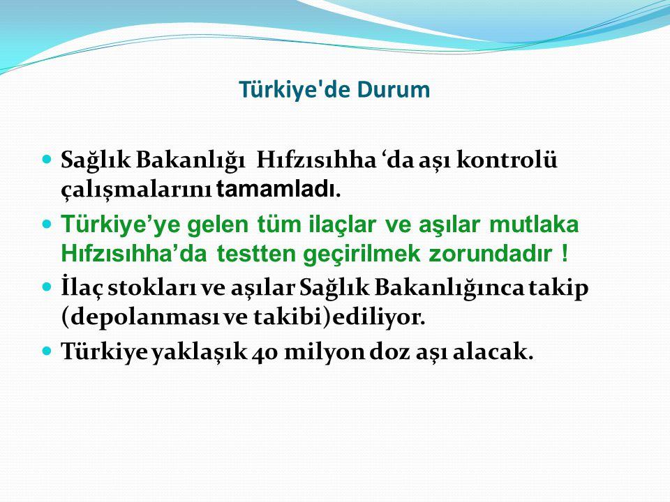 Türkiye de Durum Sağlık Bakanlığı Hıfzısıhha 'da aşı kontrolü çalışmalarını tamamladı.