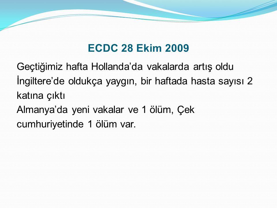 ECDC 28 Ekim 2009 Geçtiğimiz hafta Hollanda'da vakalarda artış oldu