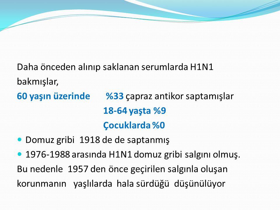 Daha önceden alınıp saklanan serumlarda H1N1