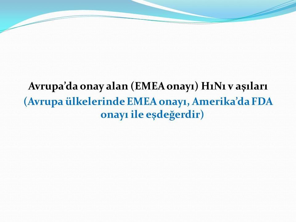 Avrupa'da onay alan (EMEA onayı) H1N1 v aşıları (Avrupa ülkelerinde EMEA onayı, Amerika'da FDA onayı ile eşdeğerdir)